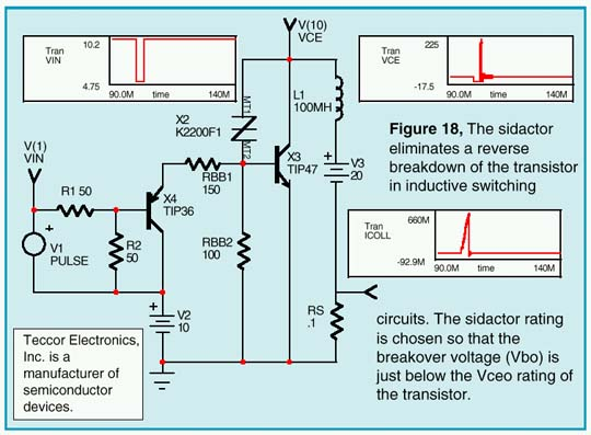 The sidactor eliminates a reverse breakdown of the transistor in inductive switching