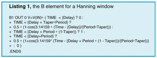 The B element for a Hanning window